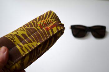 Miontas leren brillen etui met gele print