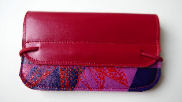 Miontas leren portemonnee in rood en roze