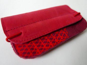 Helder rode leren portemonnee