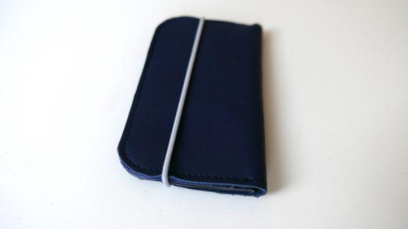 Miontas portemonnnee blauw leer en grijze print