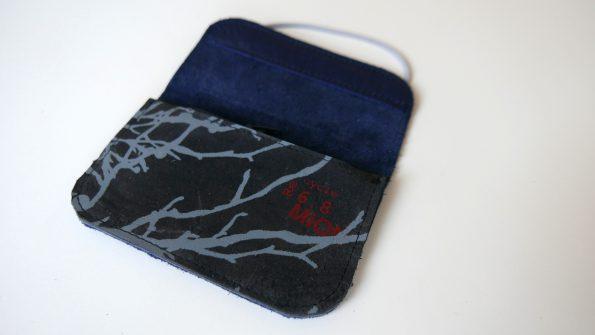 Miontas portemonnee blauw leer met grijze print