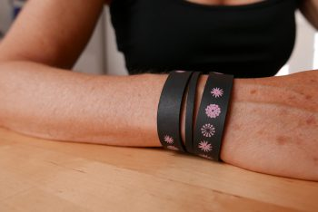 Miontas leren armband met roze
