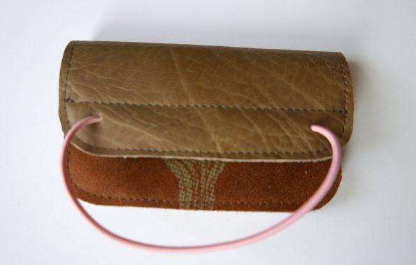 Miontas leren portemonnee in bruin en groen leer